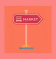 Flat shading style icon sign of market
