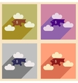 Flat with shadow icon concept piggy bank clouds vector image vector image
