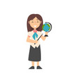 girl teacher character with pointer and globe kid vector image vector image