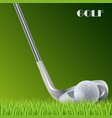 golf green background with ball and stick template vector image