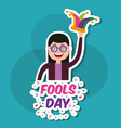 happy young woman with glasses and jester hat vector image vector image