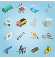 Industrial set icons isometric 3d style vector image vector image