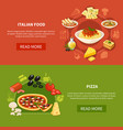 italian cuisine horizontal banners vector image