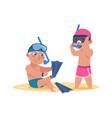 kids at beach cartoon children wear fins and vector image vector image