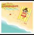 Little girl say hello to summer happy time vector image