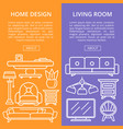 living room design linear poster set vector image vector image