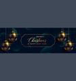 merry christmas hanging 3d balls premium banner vector image vector image