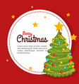 merry christmas pine tree decoration gift box vector image