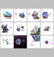 minimal brochure templates with colorful hexagons vector image vector image
