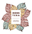 monstera design hand drawn frame template vector image