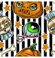 pattern halloween element patches pumpkin vector image vector image