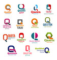 q letter corporate identity business icons vector image vector image