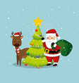 santa claus with deer and pine tree vector image vector image