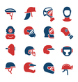 Set color icons of helmets and masks vector image vector image