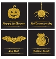 set halloween gold textured icons vector image