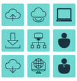 set of 9 world wide web icons includes local vector image vector image