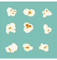 set of popcorn elements vector image vector image