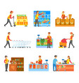 set of varied works in food supermarket poster vector image