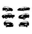 sets of silhouette cars vehicle icon in isolated vector image