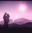 silhouette couple in landscape vector image vector image
