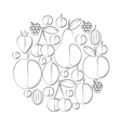 silhouettes of berries and fruits Imitation vector image