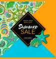 Summer sale banner with objects of marine life vector image