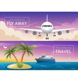 travel banners set Passenger airplane in vector image vector image
