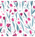 tulip seamless pattern on white background vector image vector image