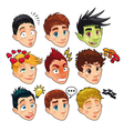 Various expressions of boys vector image vector image
