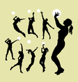 Volleyball sport silhouettes vector image