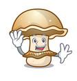 waving portobello mushroom character cartoon vector image vector image
