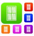 white latticed rectangle window set color vector image vector image