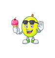 with ice cream fresh gomortega cartoon on white vector image vector image