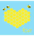Yellow honeycomb set in shape of heart Bee insect vector image