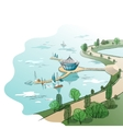 colored linear landscape with quay and boats vector image