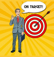 pop art happy businessman achieved the target vector image