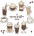 printable with set of isolated cup of coffee vector image