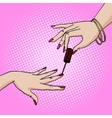 Hand paint nail pop art style vector image