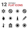 12 heat icons vector image vector image