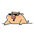 a fashionable pig in pixel glasses flat style vector image vector image