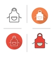 Apron flat design linear and color icons set vector image
