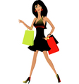 Beautiful woman with shopping vector image