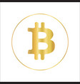 bitcoin icon in metallic gold foil design vector image
