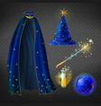 blue wizard costume set with accessories vector image