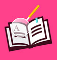 book icon with magnifying glass on pink vector image vector image