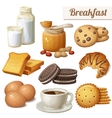 Breakfast 3 Set of cartoon food icons vector image vector image