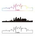 Cadiz skyline linear style with rainbow vector image vector image