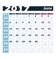 Calendar 2017 June design template Week vector image