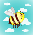 Cartoon cute bees on sky with clouds vector image vector image