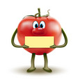 cartoon red tomato clipart with a sign in hands vector image vector image